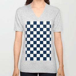 Checkered - White and Oxford Blue Unisex V-Neck