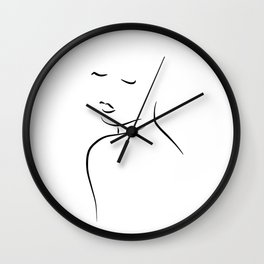 Minimalist Woman Drawing - Kiss Me Cora Wall Clock