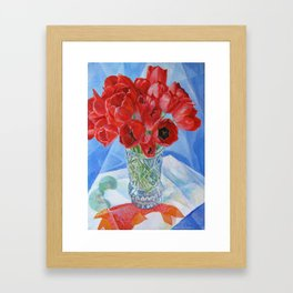 still life. flaming tulips. original oil painting Framed Art Print