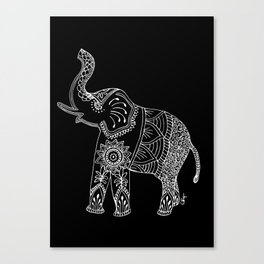 Elephant doodle in black and white. Canvas Print