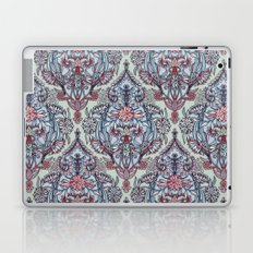 Botanical Moroccan Doodle Pattern in Navy Blue, Red & Grey Laptop & iPad Skin