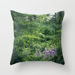Purple Flowers Growing in the Forest Throw Pillow