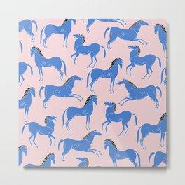ancient greek pottery horses pattern Metal Print