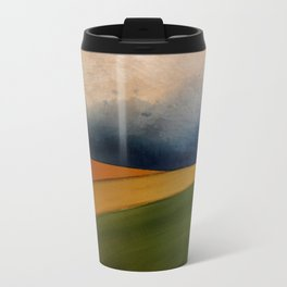 Approaching Storm Clouds Over Field Metal Travel Mug
