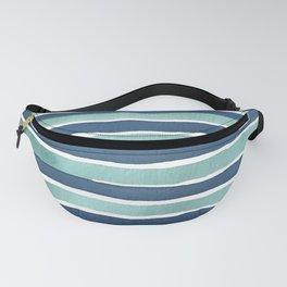 Aqua Teal Stripe Fanny Pack