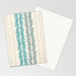 Herringbone bamboo leaves Stationery Cards