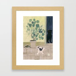 Pug Puppy Playing Framed Art Print