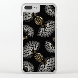 African Floral Motif on Black Clear iPhone Case