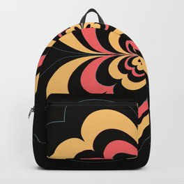 Groovy Flower In Yellow and Coral on Black Backpack