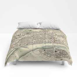 Vintage Map of Frankfurt Germany (1837) Comforters