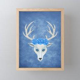 Fantasy White Deer Head Antlers Blue Roses Framed Mini Art Print