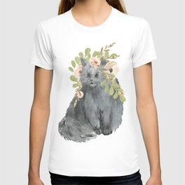 cat with flower crown T-shirt