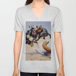 """""""Bucking Horse"""" Western Vintage Art Unisex V-Neck"""