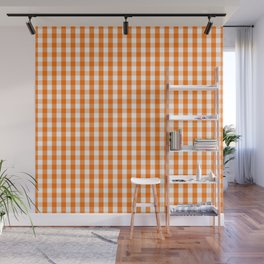 Classic Pumpkin Orange and White Gingham Check Pattern Wall Mural
