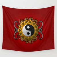 yin yang Wall Tapestries featuring Yin Yang by Pedro Vale