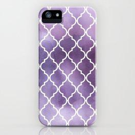 Moroccan Trellis, Watercolors - Purple White iPhone Case