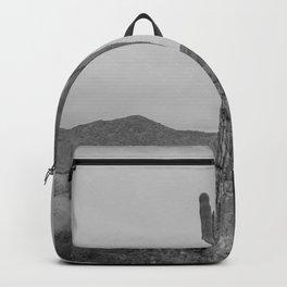 Saguaro B&W // Desert Landscape Photography Arizona Cactus Black and White Vintage Southwestern Vibe Backpack