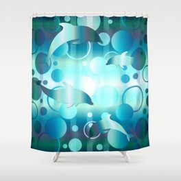 Dolphin Bubbles Shower Curtain
