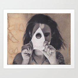 Realism Drawing of Beautiful Woman with Ouija Planchette Piece Art Print