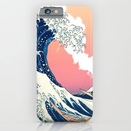 Great Wave Off Kanagawa Mount Fuji Eruption and Gradient Pink and Orange iPhone Case