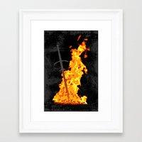 dark souls Framed Art Prints featuring Bonfire ( Dark Souls II ) by Renars