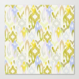Ikat weaving in yellow, blue and cream Canvas Print