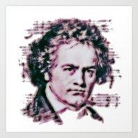 beethoven Art Prints featuring Beethoven by Zandonai