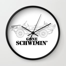 gone schwimin' - a distressed line drawing of a vintage Type 166 Schwimmwagen Wall Clock