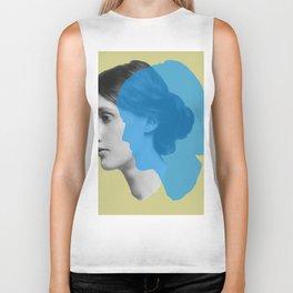 Virginia Woolf portrait green blue Biker Tank