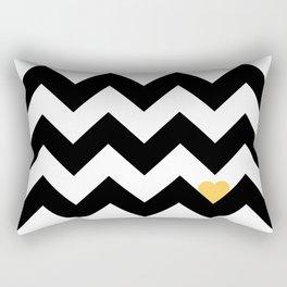 Heart & Chevron - Black/Yellow Rectangular Pillow