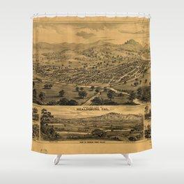 Bird's eye view of Healdsburg, California (1876) Shower Curtain