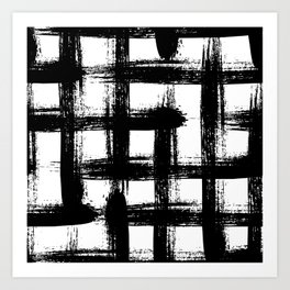 Plaid pattern with bold black crossing lines and stripes Art Print