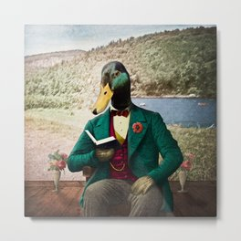 Monsieur Mallard Reading an Improving Book Metal Print