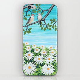 red bellied woodpeckers and daisies iPhone Skin