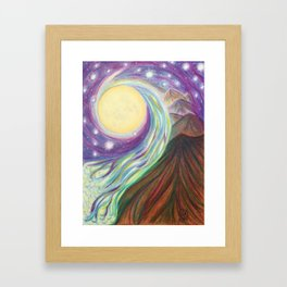 Moonlit Mountains Framed Art Print