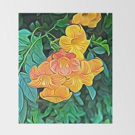 Orange Flowers of Flowing Circuitry Throw Blanket