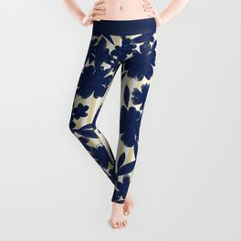 Geometric white yellow navy blue watercolor floral Leggings