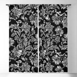 Black & Silver Vintage Floral Damasks Pattern Blackout Curtain