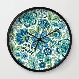 Blue Floral Wall Clock