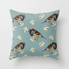 Sparrow and flowers Throw Pillow