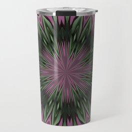 Rose and Jade Floral Fantasy Mandala Pattern Travel Mug