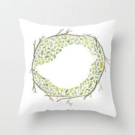 Green Little Bird Nest Throw Pillow