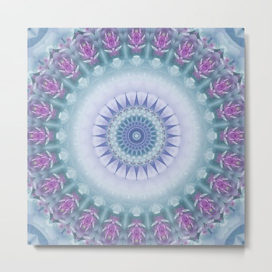 Violet Flowers Mandala Metal Print
