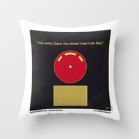 2001 a space odyssey Throw Pillows featuring No003 My 2001 A space odyssey 2000 minimal movie poster by Chungkong