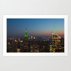 Green Empire State Building and Bank of America Tower at dusk Art Print