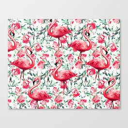 Flowers and Flamingos Canvas Print