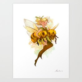 Fairy with two bees Art Print
