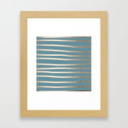 Abstract Drawn Stripes Gold Tropical Ocean Blue Framed Art Print
