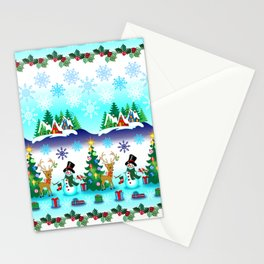 Christmas, Snowman Lawn Party with Friends Stationery Cards