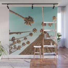 {1 of 2} Hug a Palm Tree // Tropical Summer Teal Blue Sky Wall Mural